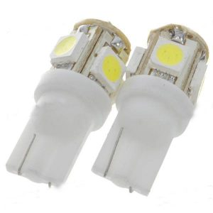 2 x AMPOULES T10 W5W 5 LEDS SMD BLANCHE