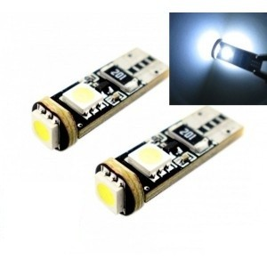 2 x AMPOULES T10 W5W 3 LED SMD CANBUS BLANCHES
